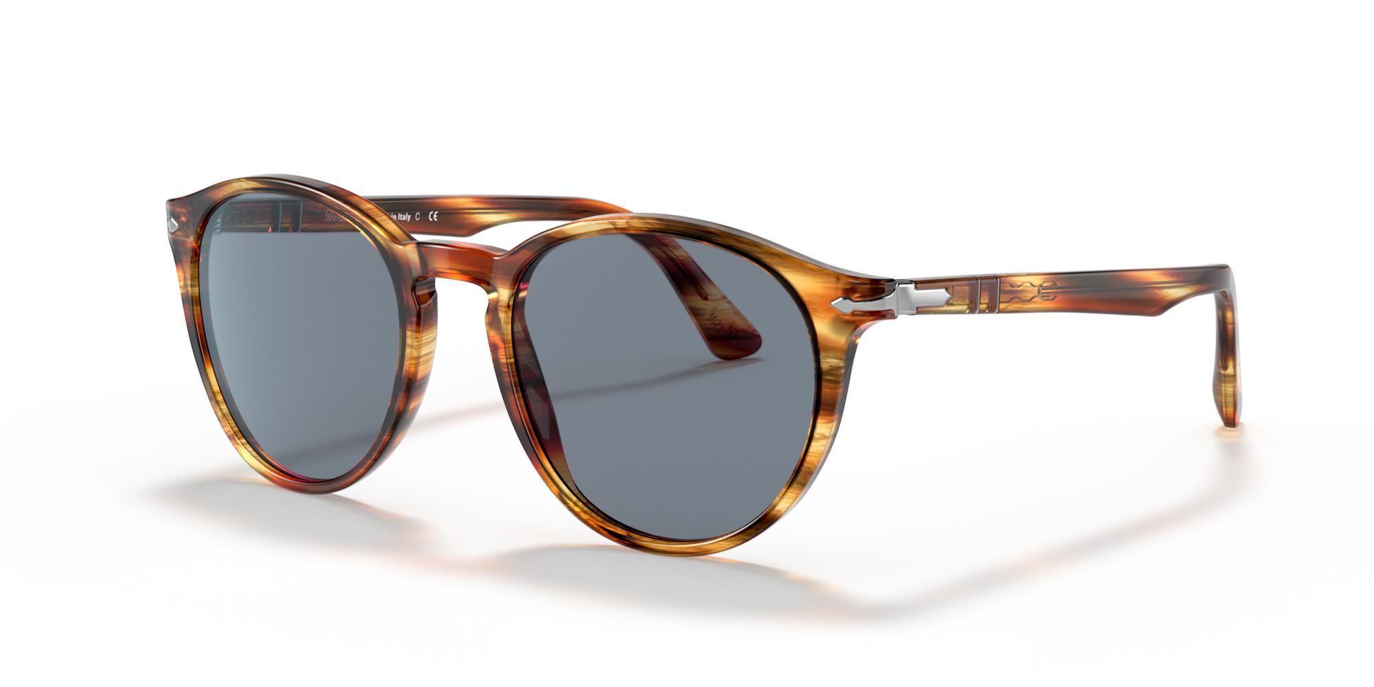 Persol Men Sunglasses Galleria 900  PO3152S 904356 52 Havana Frame Blue Lenses